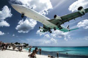 Plane landing on St Maarten